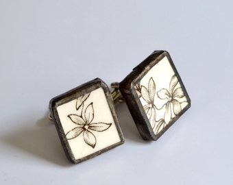 Broken China Cuff Links - Brown and White Flower