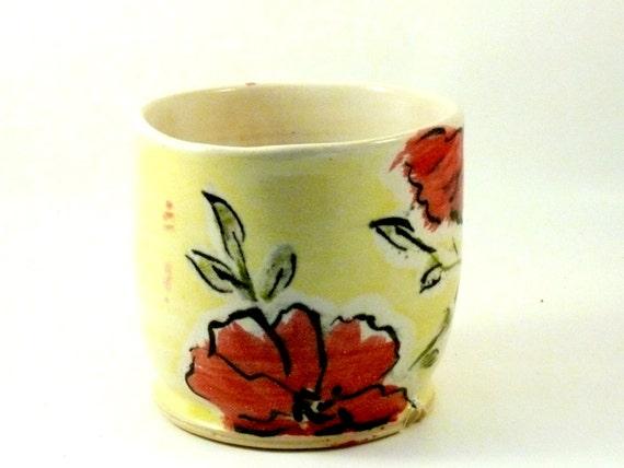 Ceramic Cup with Marimekko Poppy flowers / tea mug teacup