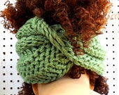 Sage Green Knit Scarf, Knit Infinity Scarf, Head Scarf Wrap, Light Sage Green Scarf, BOA Crochet Scarf, Strawberry Couture