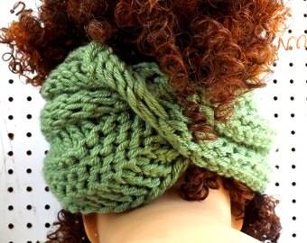 Sage Green Knit Scarf,  Knit Infinity Scarf,  Head Scarf Wrap,  Light Sage Green Scarf,  BOA Crochet Scarf