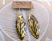 Antique Brass Earrings with Hand Printed Treedom Oblong