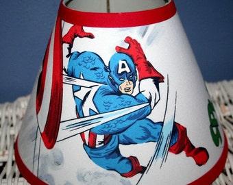 ON SALE Lampshade Kids CAPTAIN America Boys Superhero  handmade with Pottery Barn Kids fabric