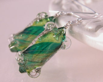 Dark and lime green glass and sterling sparkle earrings