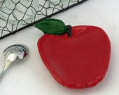 Ruby Red Apple Fruit Ceramic Tea Bag Holder Caddy Small Spoon Rest Kitchen Makeover