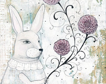 Rabbit Painting , Acrylic Animal Painting , Mixed Media Collage Print , Canvas painting, Whimsical Art Print. Giclee Print
