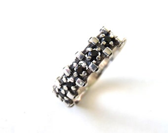 Diamond Ring Band Black Sterling silver Ring Size 5.5