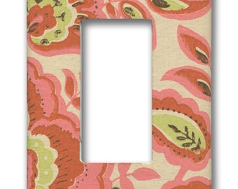 1960's Vintage Hippie Chic Orange, Pink, Green on Cream Floral Paisley Wallpaper Single Decora GFI Plate