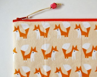 Zipper pouch - foxes on peach pink orange fox zipper purse quilted organic flannel kawaii apricot soft zipper pouch