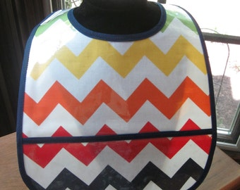 WATERPROOF WIPEABLE Baby to Toddler Plastic Coated Bib Multi Color Chevron Rainbow