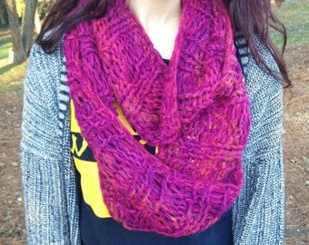 Fuchsia Pink Mohair Ombré Stripe Chunky Knit Infinity Scarf - Magenta Double Loop Long Circle Cowl Scarf - Ecofriendly Recycled Upcycled Eco