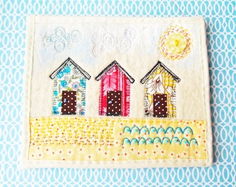 Embroidered Mini Wall Art - Beach Huts