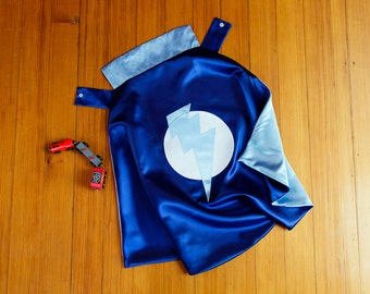 Superhero Cape by  Little Hero Capes - Blue and Light Blue -  Lightening Bolt Design