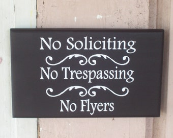 No Soliciting No Trespassing No Flyers Wood Vinyl Sig Home Living Decor Sign Private Do Not Disturb Or Knock Wall Front Door Hanger Stop