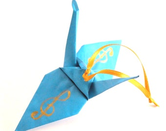 Gold Treble Clef on Turquoise Origami Crane Ornament, Handpainted, Music Inspired Home Decor
