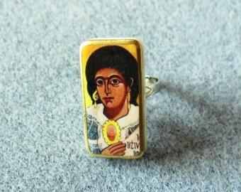 St. Sara-la-Kali Catholic Recycled Mini Domino Ring Adjustable