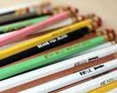 SALE! Perfectly Imperfect Pencils. Set Of 6. Pencil Grab Bag. Various Colors and Quotes. Flawed Pencil Set. Mature.