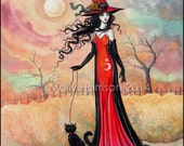 Autumn Stroll Fantasy Art Original Witch Cat Halloween Archival Giclee Print 9 x 12