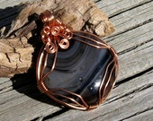 Copper Wire Wrapped Fused Glass  Pendant