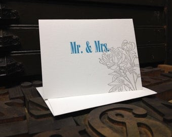 Peony Letterpress Wedding Card - Individual