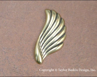 Angel Wings or Earring Components in Antiqued Polished Brass (item 1406-large AG) - 6 Pieces