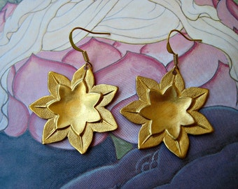 Golden Lotus Earrings