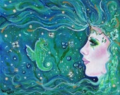 Aceo print 2.5x3.5inches Harmony Sea Mermaid Fantasy mermaid by Renee