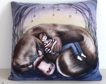 SALE: Platypus cushion cover. Decorative pillow. Velvet pillow. Boy. Animal art. Illustrated. Australian gift with original art by flossy-p