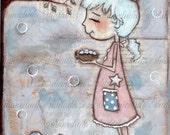 Print of my original mixed media fairy painting - Blue Magic