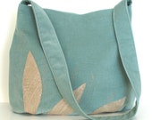 Purse Handbag with patchwork and embroidery - hobo shoulder bag in teal color - handmade tote bag