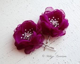 Flower Girl Hair Flowers, Wedding Accessories, Mini Hair Flower Bobby Pins - Christie in Maroon