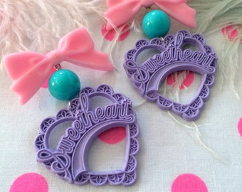 Lilac, Pink and Blue Sweetheart Earrings