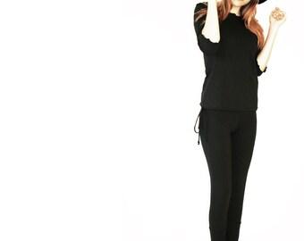 CUFFED HEM LEGGINGS clothing, women, pants, leggings, black pants, handmade, comfortable, yoga pants, bottoms, custom