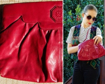 Happy SUN 1970's 80's Vintage Maroon Purple Vinyl Purse by Fashion Right by DOVER
