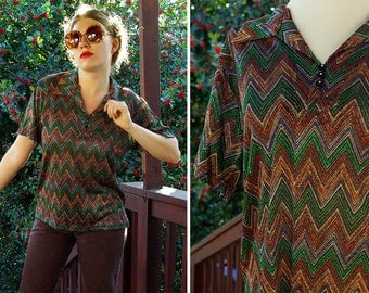 Disco SHIMMER 1970's Vintage Green Orange + Brown Zigzag Polyester Shirt with Silver Metallic // size Medium Large