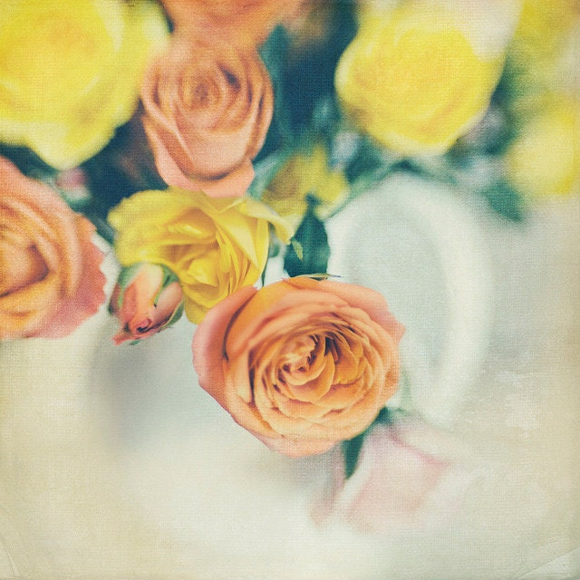 White Vase Roses, 8x8 Photo, Bokeh, Modern Wall Decor, Home Decor, Fine Art Phtography, gallery32 etsy