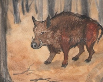 Original Art - The Hierophant - Watercolor Pig Painting -The Badgers Forest Tarot