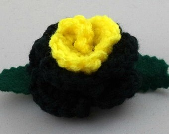 Crocheted Rose Barrette - Black and Yellow (SWG-HB-HEBM01)