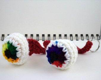 Rainbow Crocheted Eyeball Key Ring