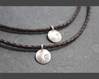 CHARISMA Initial Tag Necklace,Men, custom text, Argentium, silver, Tarnish resistant, Keepsake, Initial