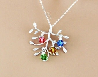Grandmother Birthstone Necklace, Personalized Tree Necklace, Family Birthstone Necklace, Sister, Mother Jewelry with Children Birthstones