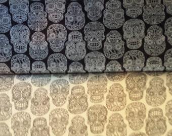RJR Fabric Dan Morris Fiesta Sugar Skulls CHOOSE Black or White  1 yard