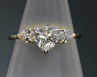 Vintage! Heart Shaped Center Diamond with Pear Shaped Side Diamonds Engagement Ring
