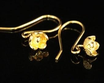 KG-486 thai karen hill tribes handmade 24K gold vermeil over silver pair wild flower earring
