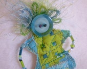 Lime and turquoise doll pin- quilted beaded doll pin- bead legs, button head, yarn hair- Wild Child pin