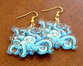 CLEARANCE Adorable acrylic kracken earrings