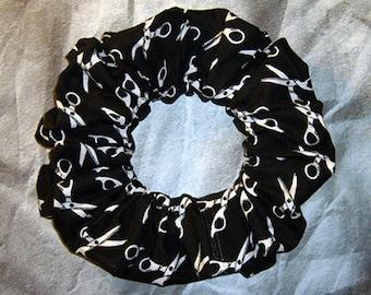 Scissor's Hair Scrunchie, Ponytail Holder, Hair Tie, Black