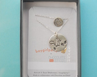 Mother/Daughter silver SQUIRREL NECKLACE SET, Illustration by Boygirlparty. Handcrafted by Chocolate and Steel