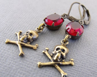 Red Brass Skull Earrings, Rubies Booty, Pirate Jewelry, skull Earrings, Vintage Red Glass, Skull And Crossbones Dangle Earrings