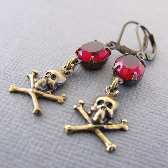Red Brass Skull Earrings, Rubies Booty, Pirate Jewelry, skull Earrings, Vintage Red Glass, Skull And Crossbones Dangle Earrings