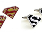 Superman Cufflinks - Superman Cufflinks in Yellow/Red or Silver/Black Chose Your Color - Superhero Cufflinks